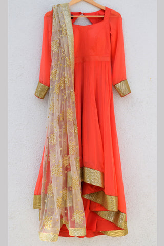 Coral Anarkali With Gold Embroidered Dupatta Front