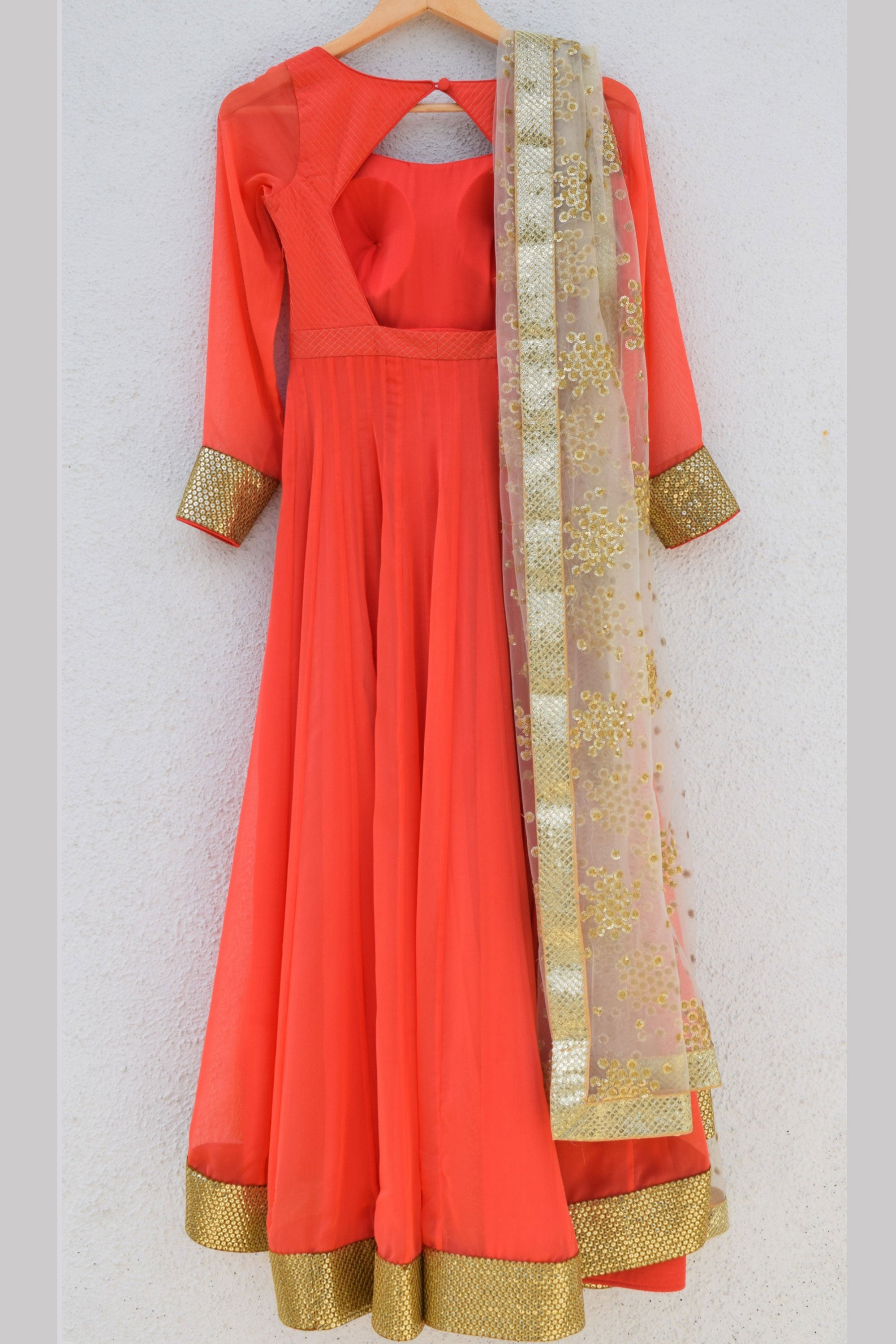 Coral Anarkali With Gold Embroidered Dupatta Back