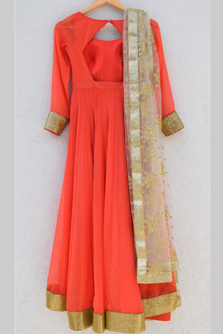 Coral Anarkali With Gold Embroidered Dupatta