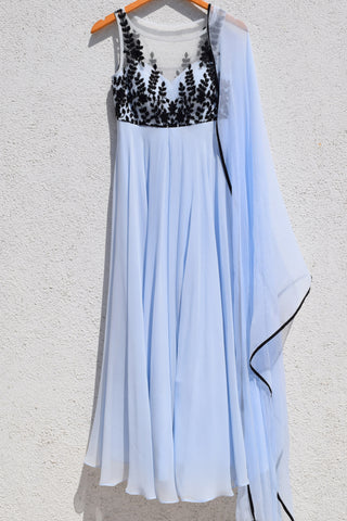 Powder Blue & Black Anarkali Front