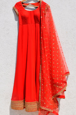 Red Anarkali With Embroidered Dupatta Front