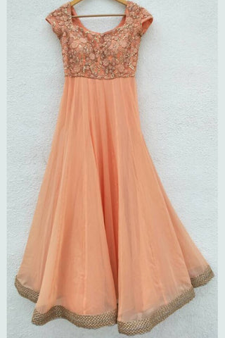 Peach Anarkali & Dusky Blue Dupatta