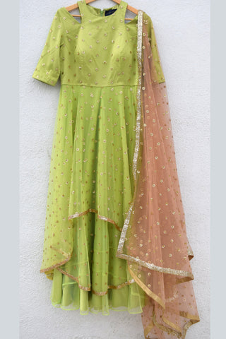 Lime Green Anarkali With Nutmeg Sequins Dupatta