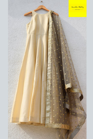 Ivory Anarkali With Slate Grey Sequins Dupatta