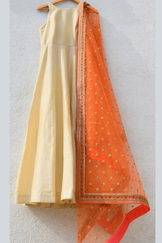 Ivory Anarkali With Orange Sequins & Thread Embroidered Dupatta