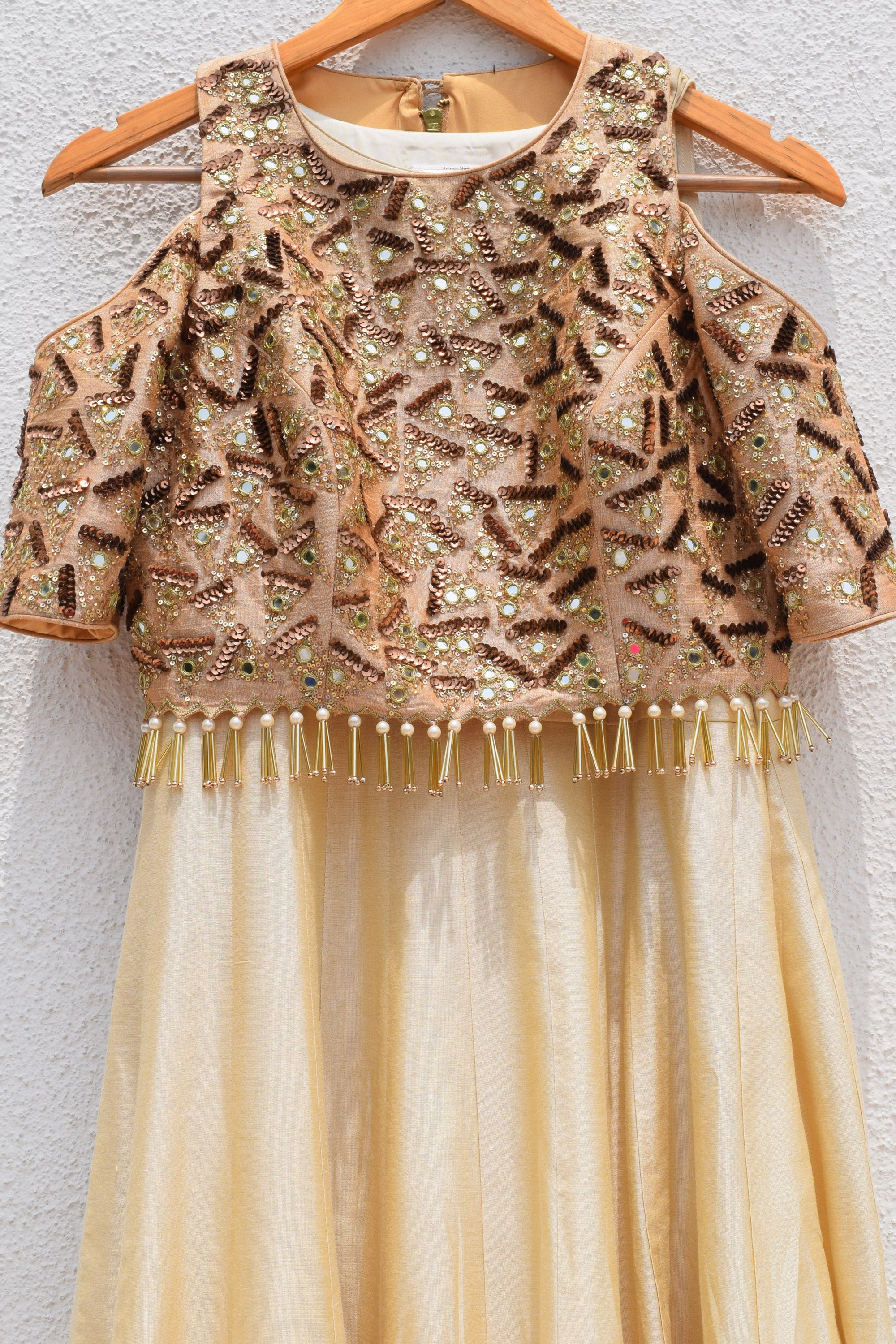 Ivory Plain Anarkali With Mirror & Sequins Embroidered Jacket CloseUp