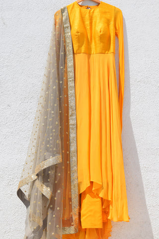 Yellow Anarkali With Grey Dupatta