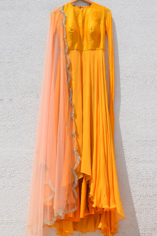 Yellow Anarkali With Salmon Pink Dupatta