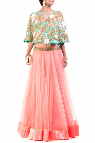 Floral Embroidery Cape With Flared Lehenga Front