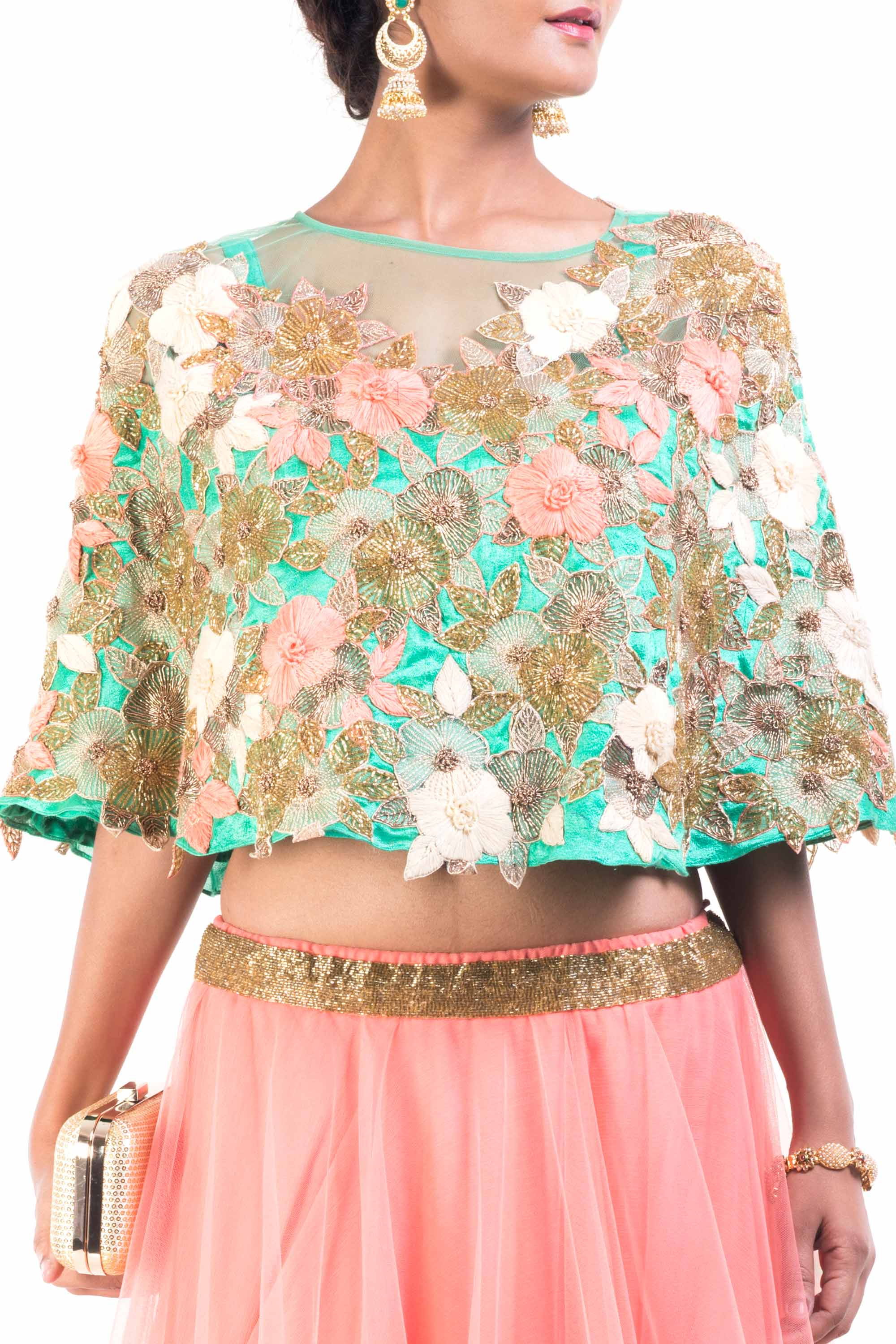 Floral Embroidery Cape With Flared Lehenga Closeup
