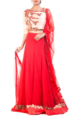 Red Lehenga Set Front