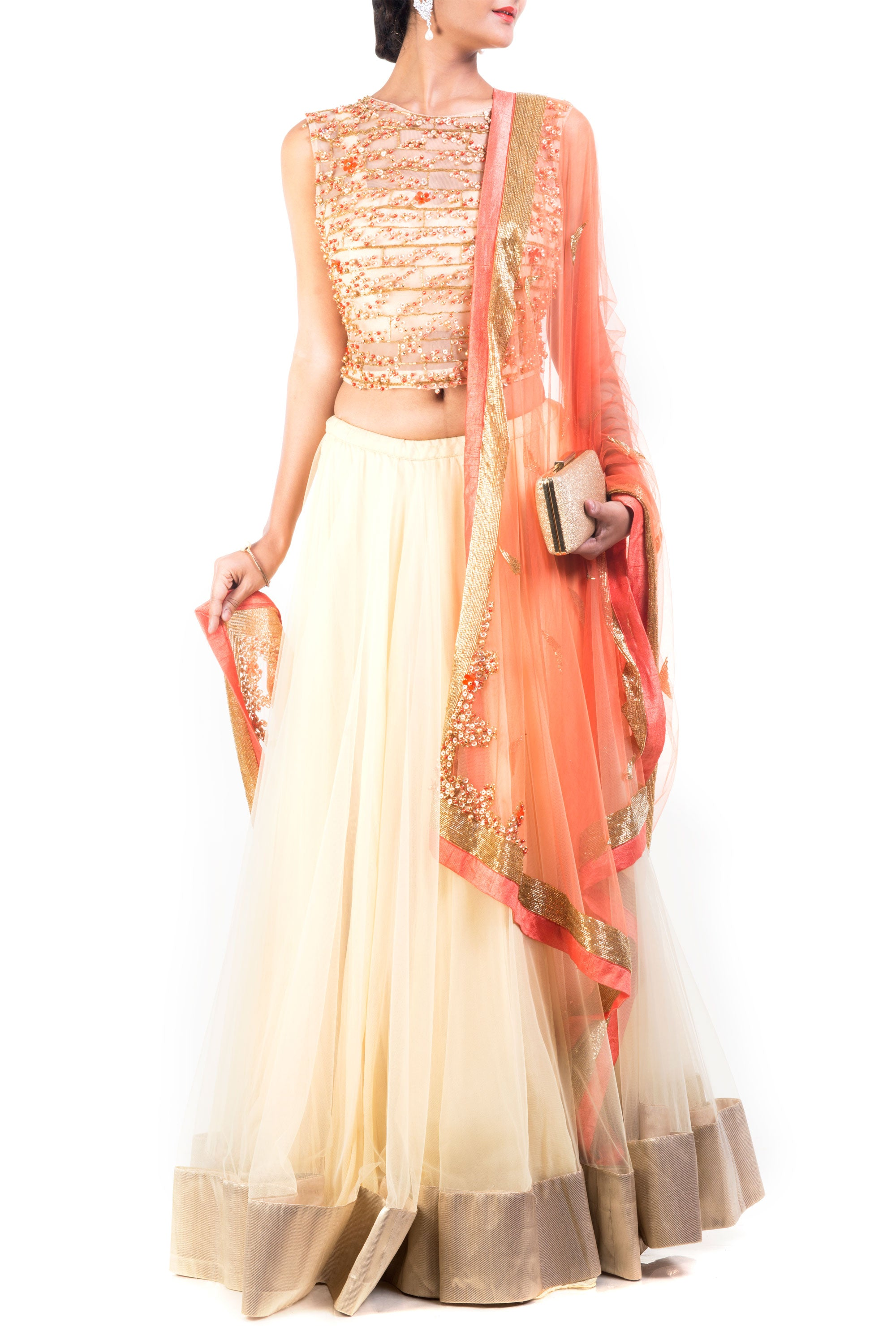 Buttercup And Tangerine Combo Lehenga Front