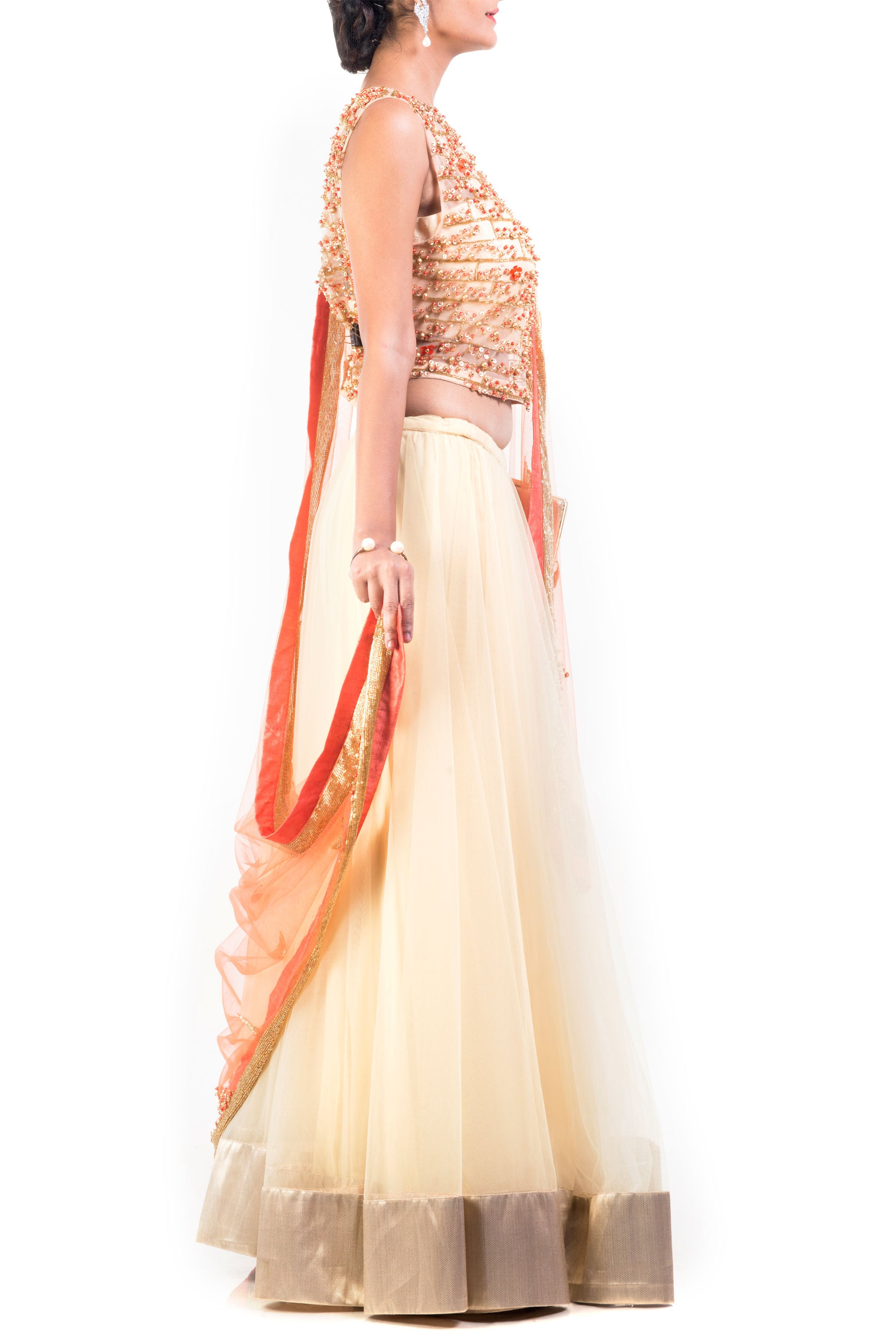 Buttercup And Tangerine Combo Lehenga Side