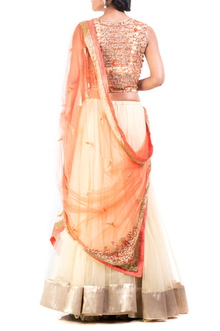 Buttercup And Tangerine Combo Lehenga