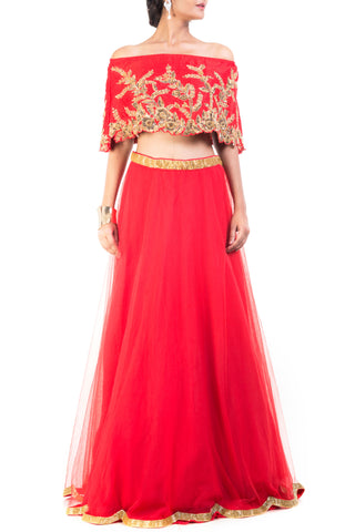 Scarlet Red And Gilded Cape Lehenga Front