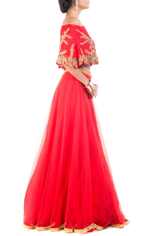 Scarlet Red And Gilded Cape Lehenga