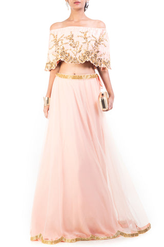Blush Pink And Gilded Cape Lehenga Front