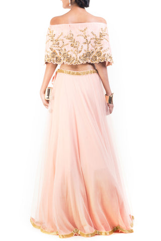Blush Pink And Gilded Cape Lehenga