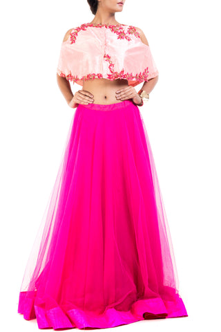 Cold Shoulder Cape Lehenga Front