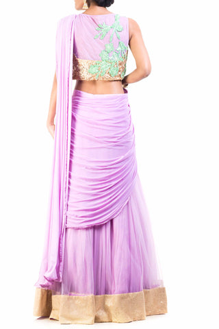 Lavender Crop top Lehenga Set