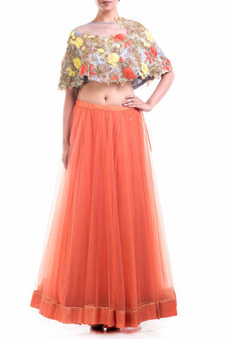 Orange Net Lehenga With Raw Silk Cape Front