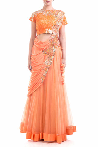 Tangerine Orange Draped Lehenga Gown Front