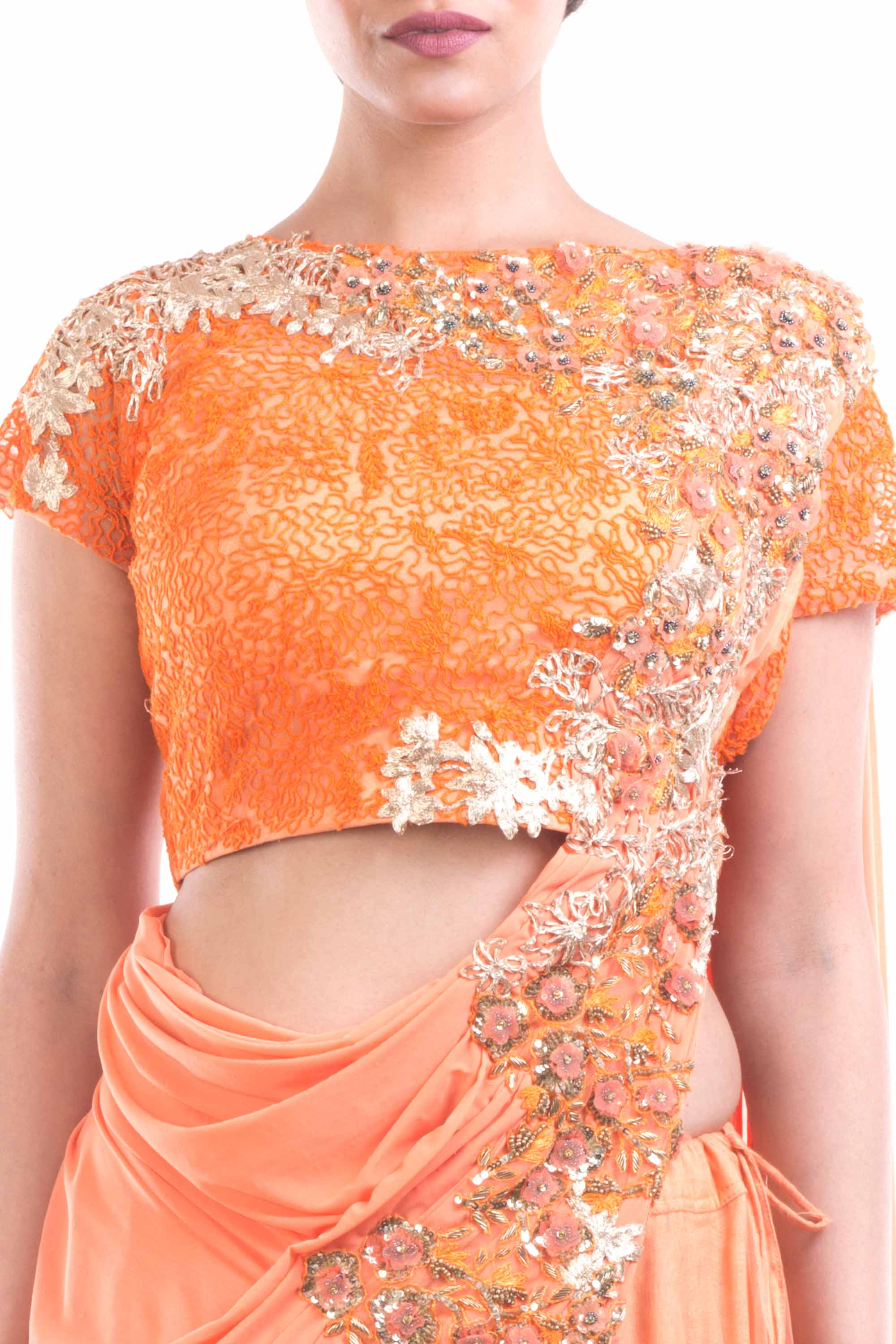 Tangerine Orange Draped Lehenga Gown Closeup