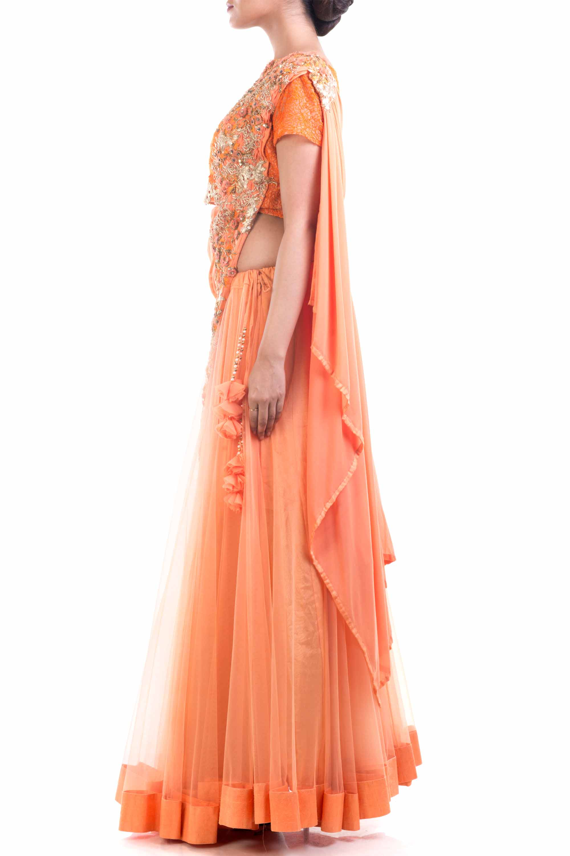 Tangerine Orange Draped Lehenga Gown Side