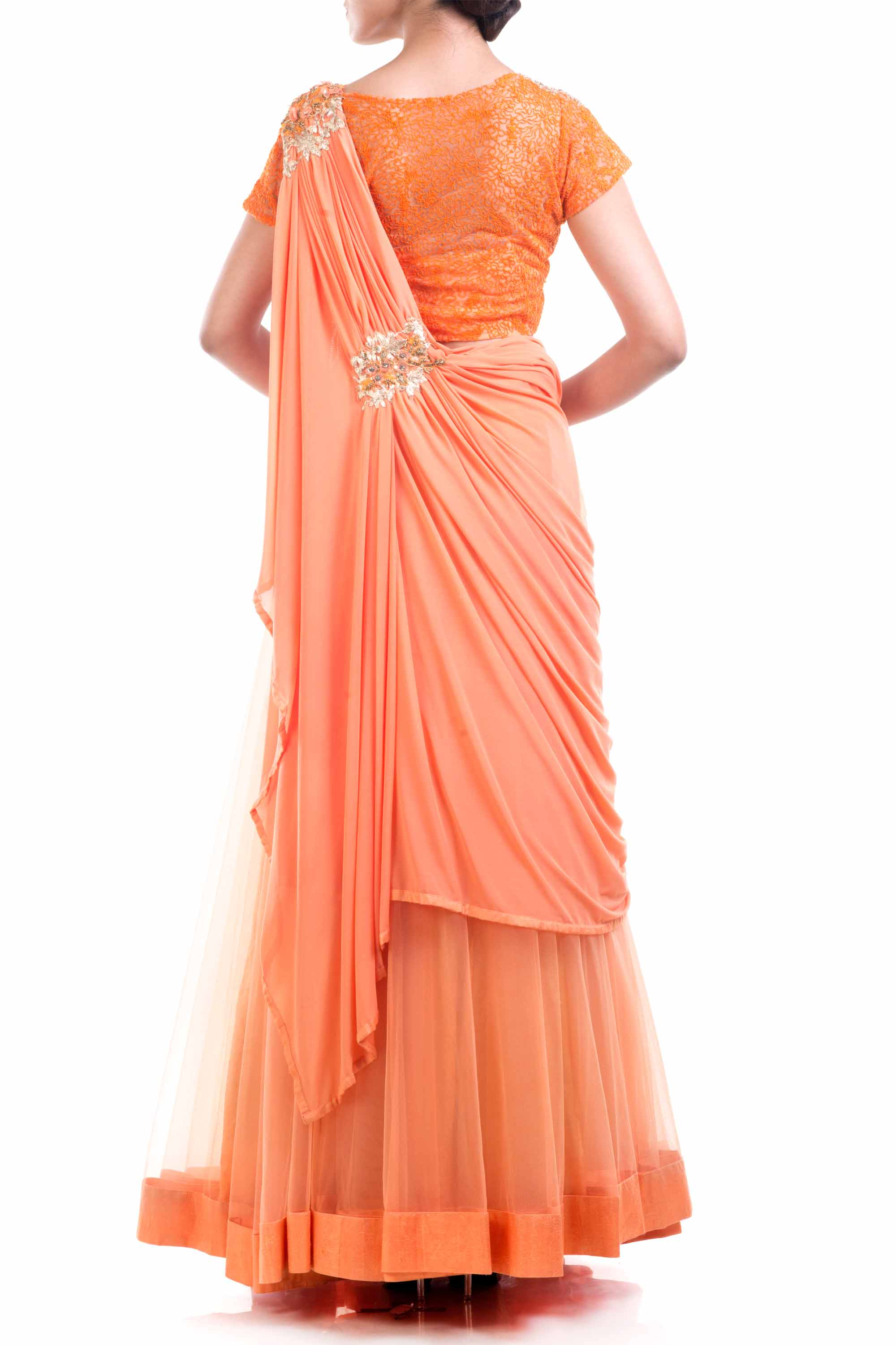 Tangerine Orange Draped Lehenga Gown Back