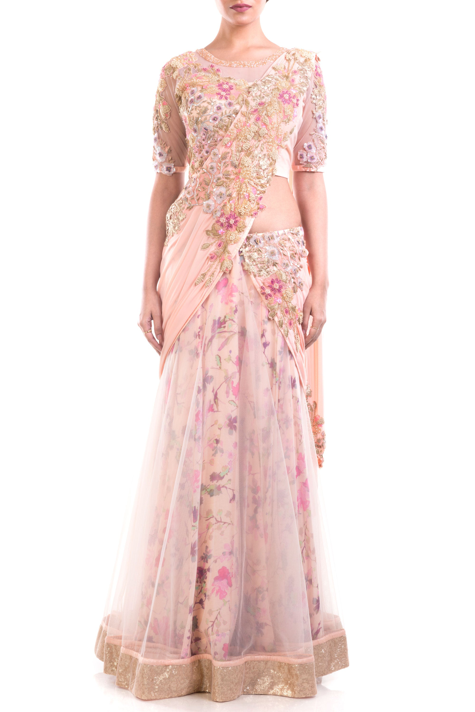 Gorgeous Draped Lehenga Gown Pattern With Print & Intricate Embroidery Detailing Front