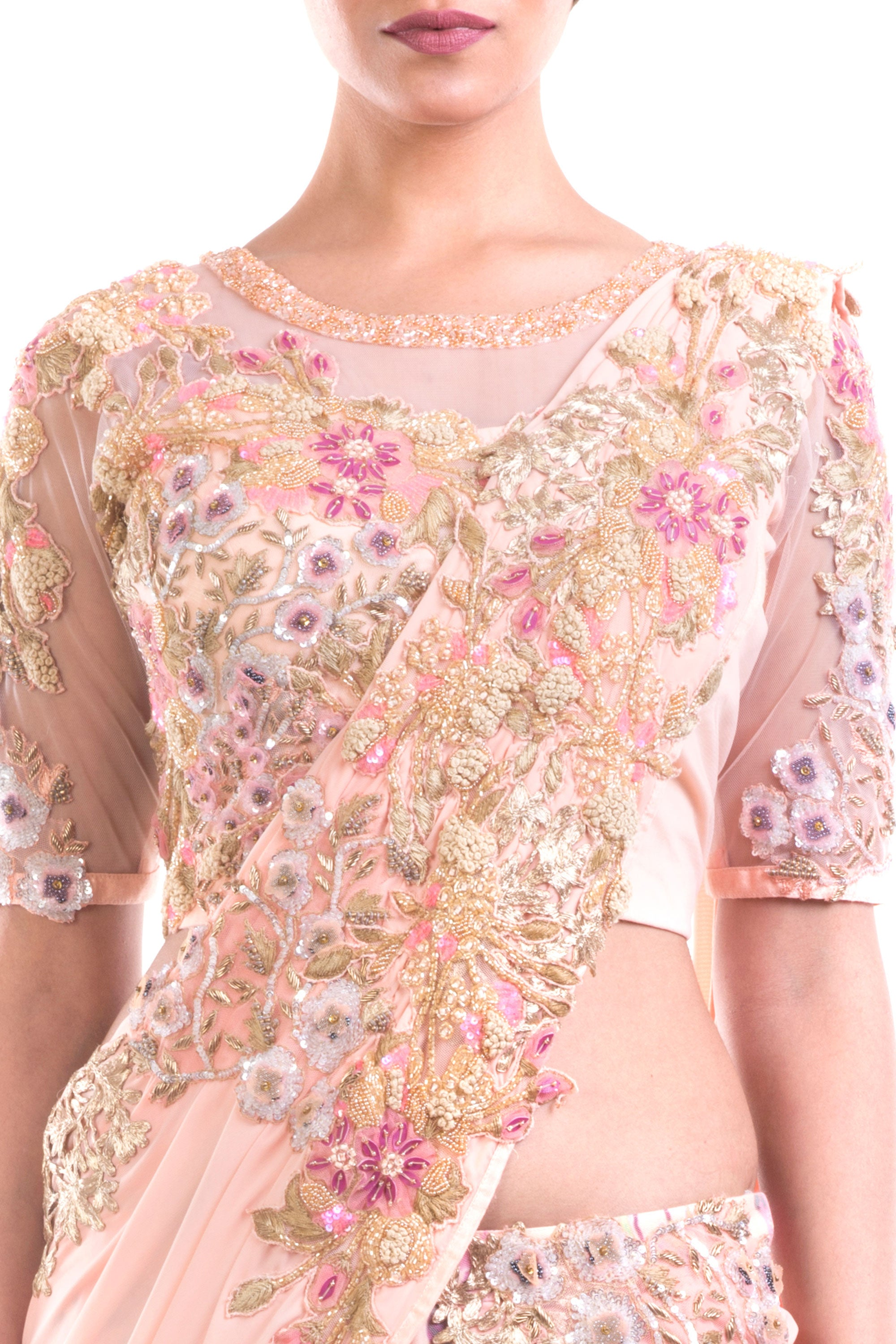Gorgeous Draped Lehenga Gown Pattern With Print & Intricate Embroidery Detailing Closeup