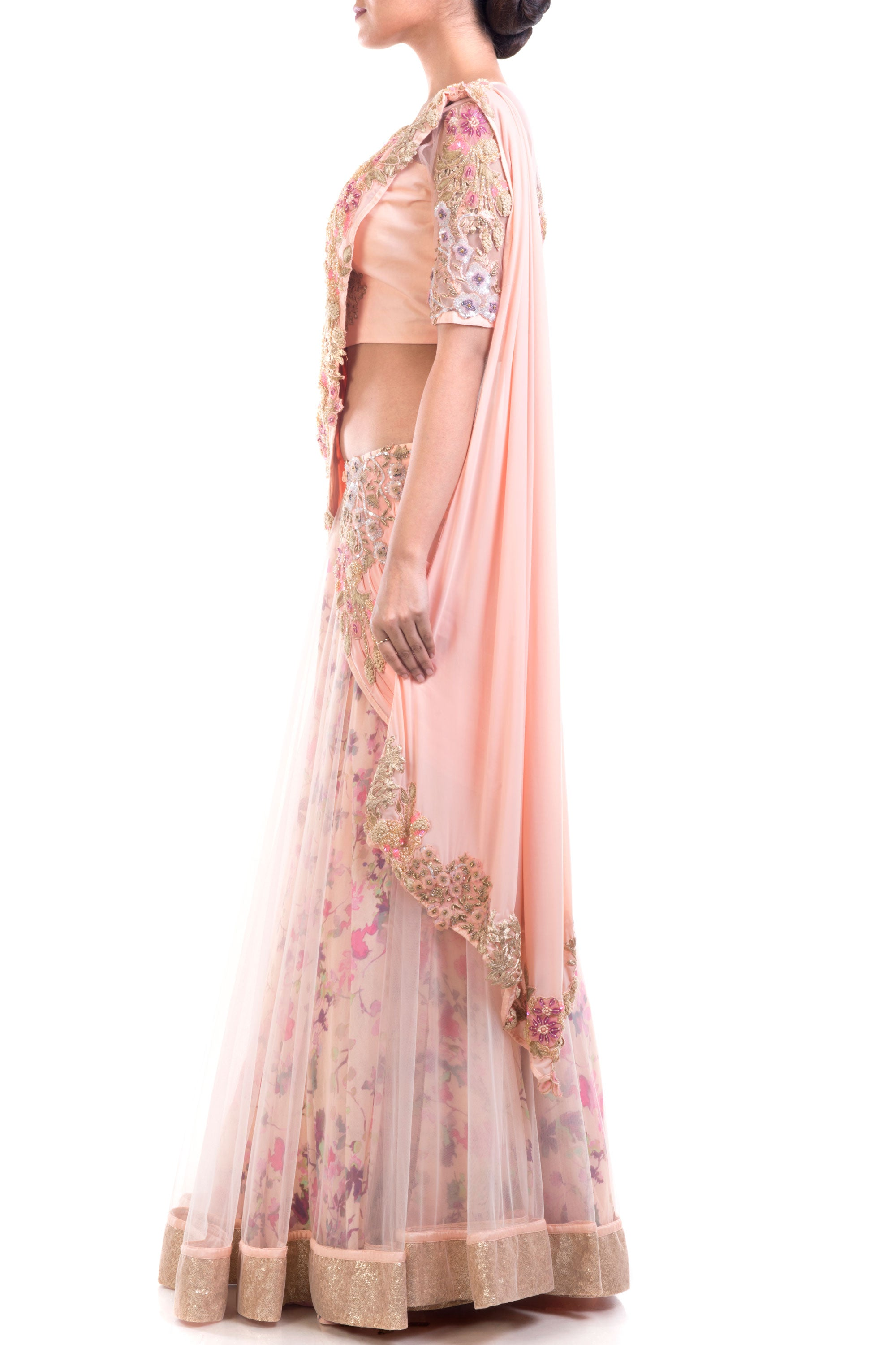 Gorgeous Draped Lehenga Gown Pattern With Print & Intricate Embroidery Detailing Side