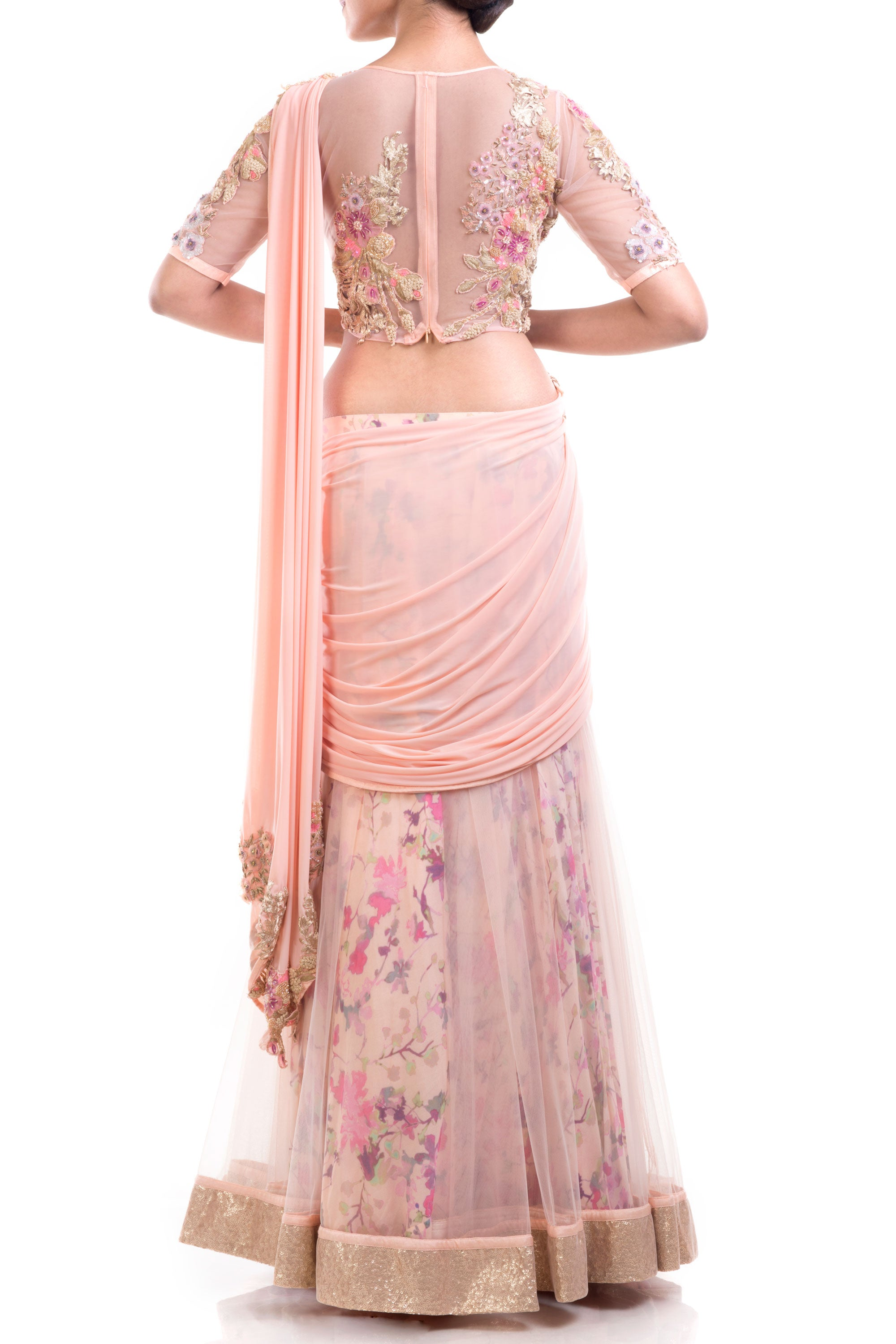 Gorgeous Draped Lehenga Gown Pattern With Print & Intricate Embroidery Detailing Back