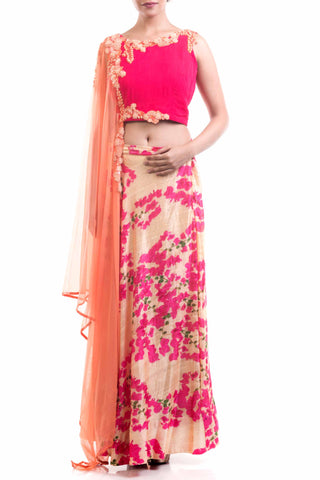 Bright Pink Printed Raw Silk Lehenga Front