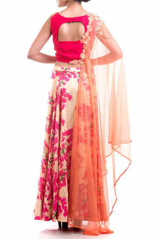 Bright Pink Printed Raw Silk Lehenga