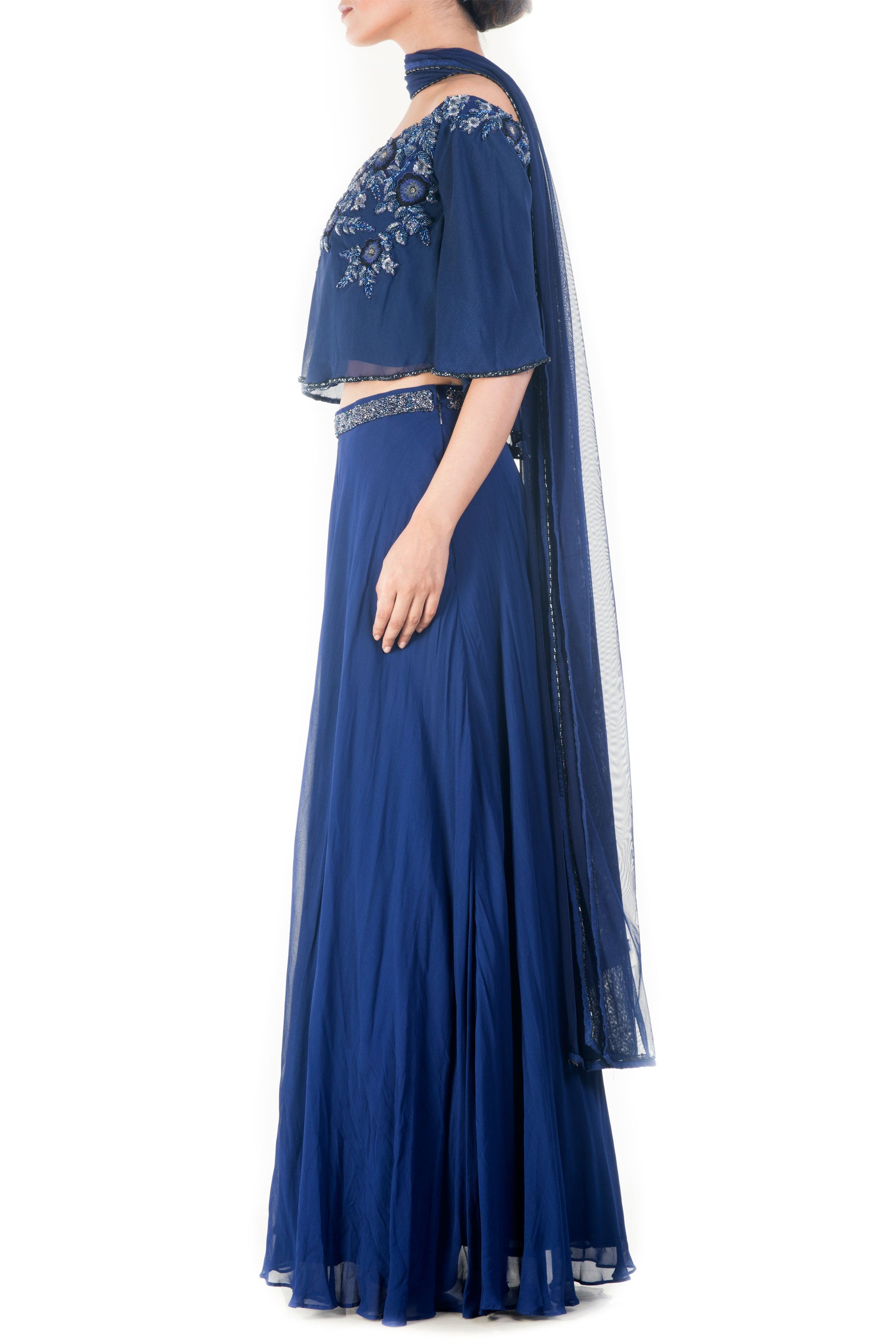 069b9405796429 ... Royal Blue Off Shoulder Cape Lehenga Set Side ...