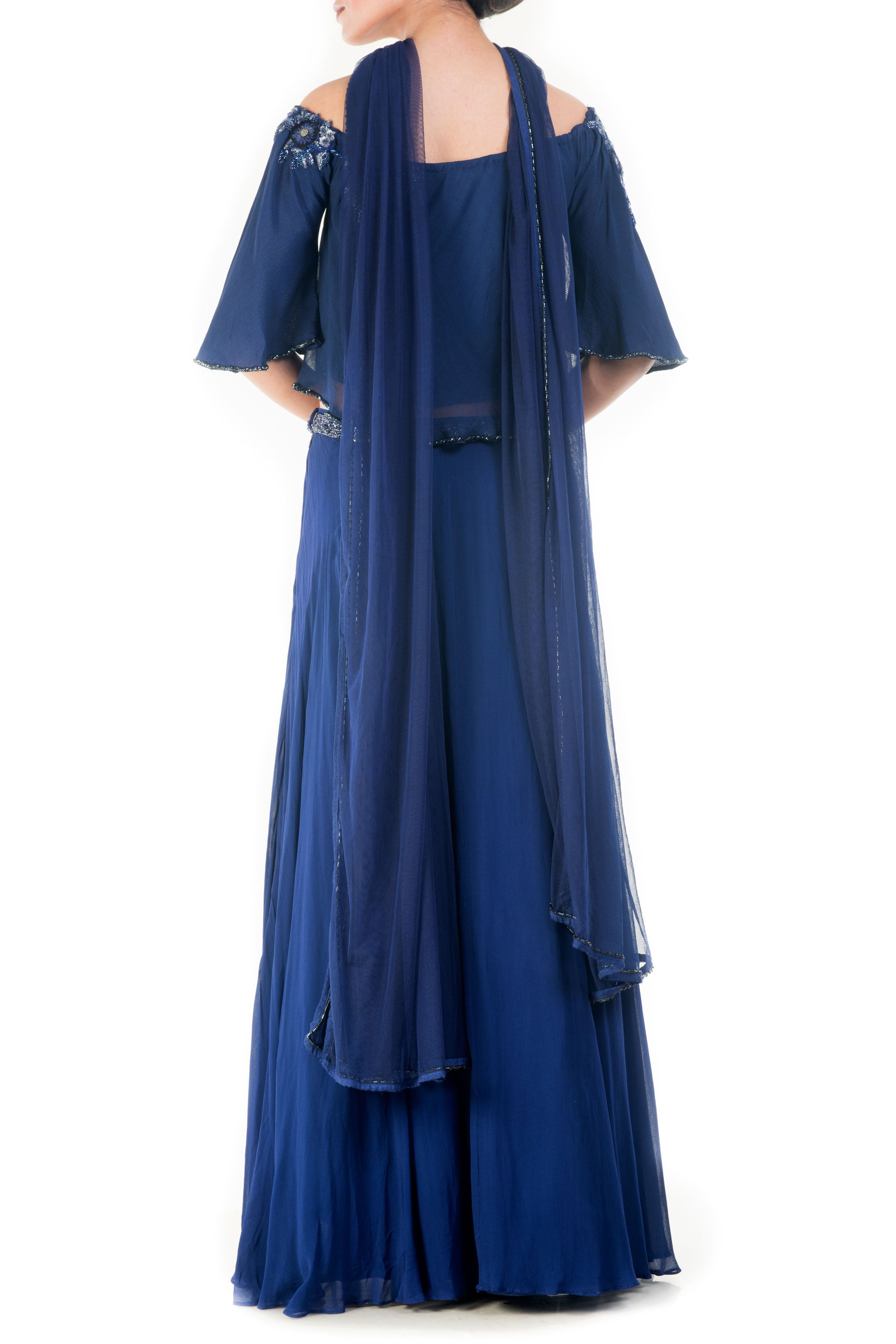 70a3493f61c2fd ... Royal Blue Off Shoulder Cape Lehenga Set Back ...