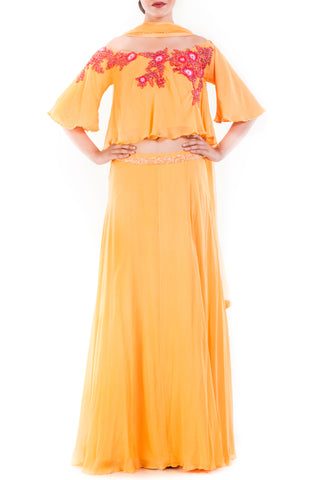 Honey Yellow Off Shoulder Cape Lehenga Set Front