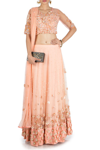 Sweet Peach Heavy Lehenga Set Front