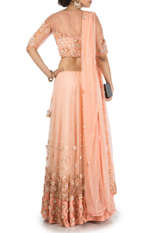 Sweet Peach Heavy Lehenga Set