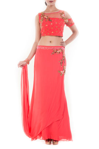 Coral And Gold Embellished Crop Top & Skirt Set Front