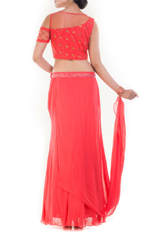 Coral And Gold Embellished Crop Top & Skirt Set