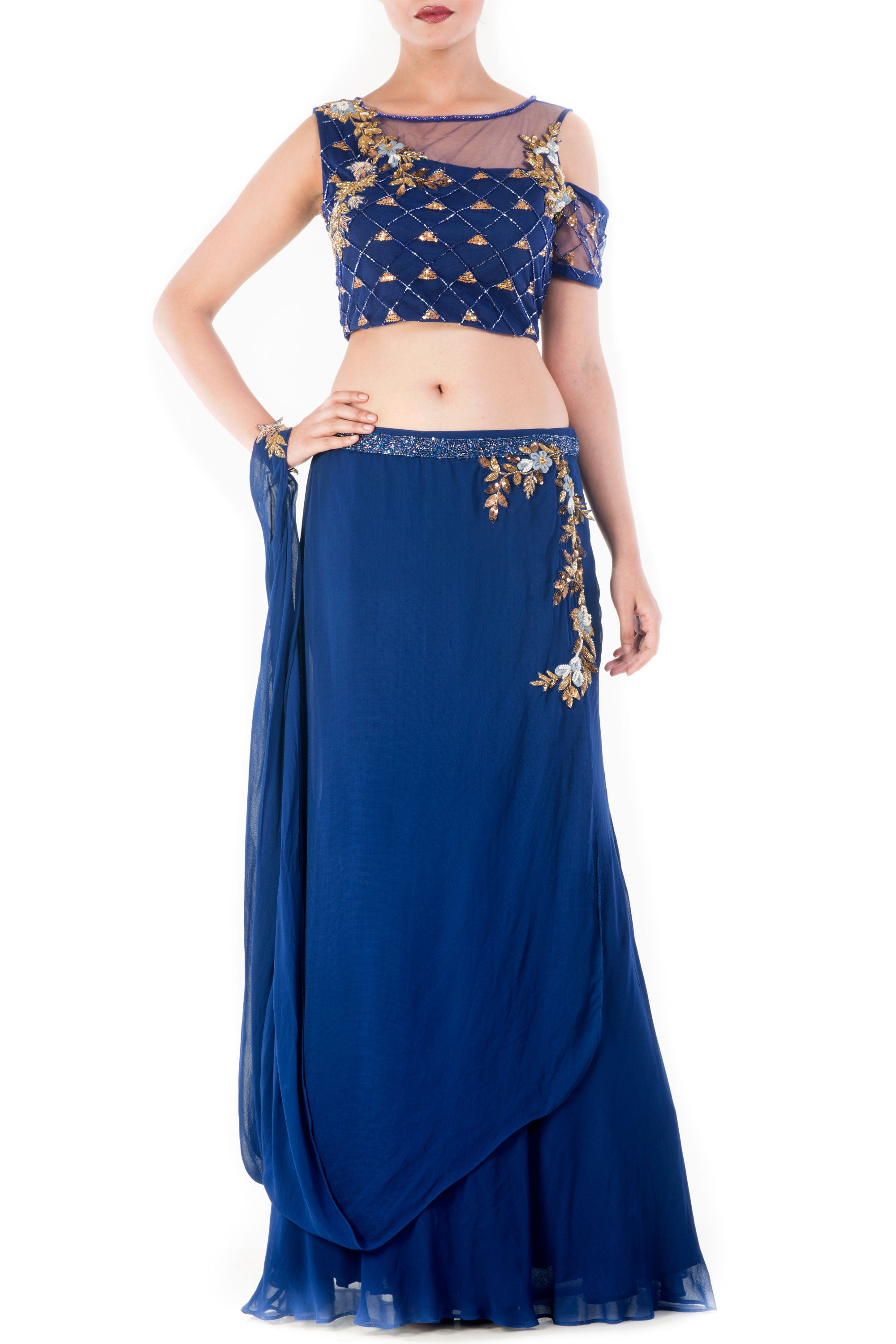 Royal Blue And Gold Embellished Crop Top & Skirt Set Front