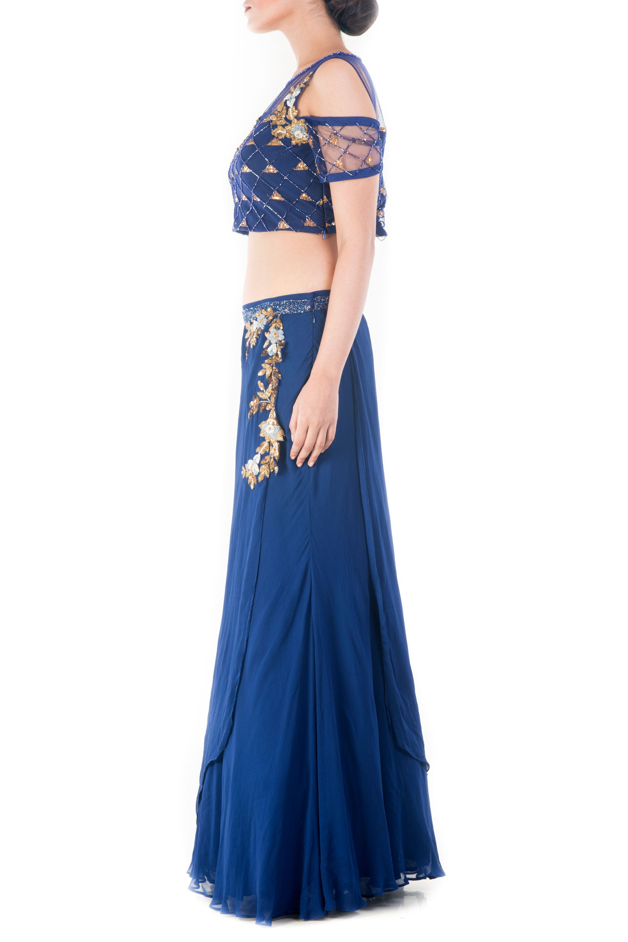 Royal Blue And Gold Embellished Crop Top & Skirt Set Side