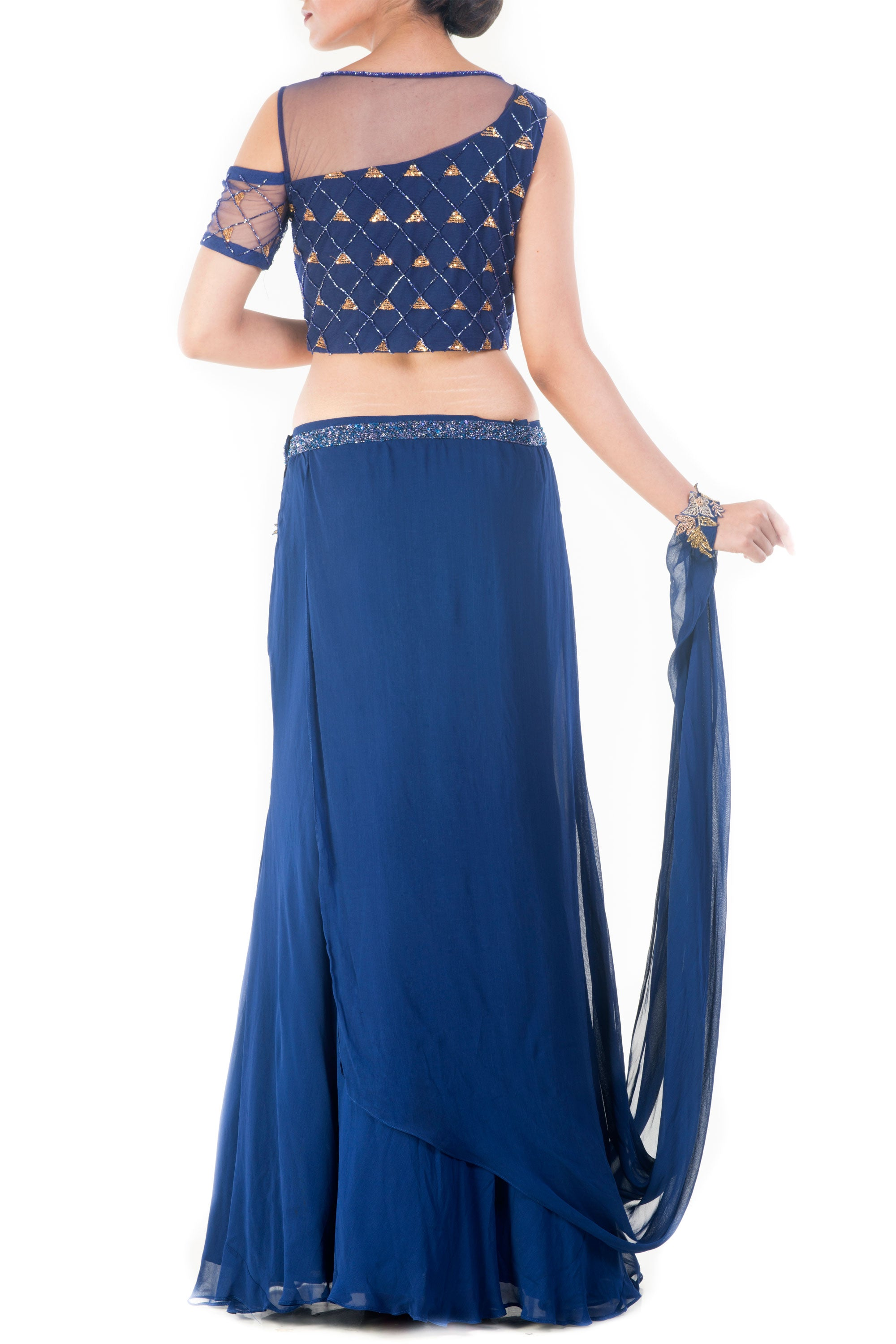 Royal Blue And Gold Embellished Crop Top & Skirt Set Back
