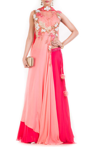 Peach Pink Passion Lehenga Set Front