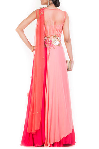 Peach Pink Passion Lehenga Set