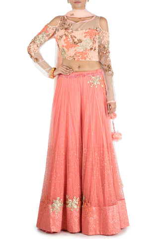 Dark Peach Lehenga With Embroidered Cold Shoulder Blouse Front