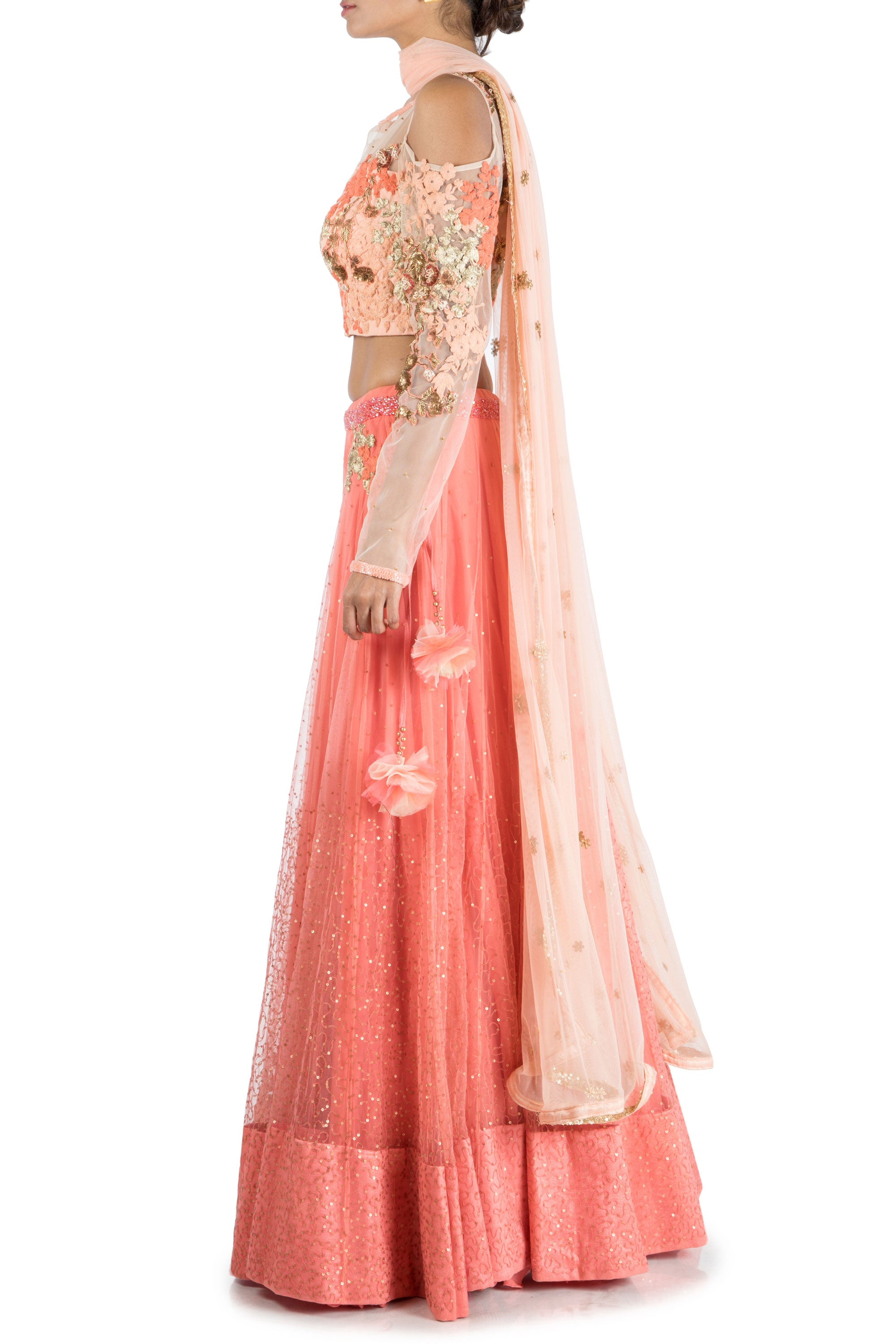 e5954783e36837 ... Dark Peach Lehenga With Embroidered Cold Shoulder Blouse Side ...