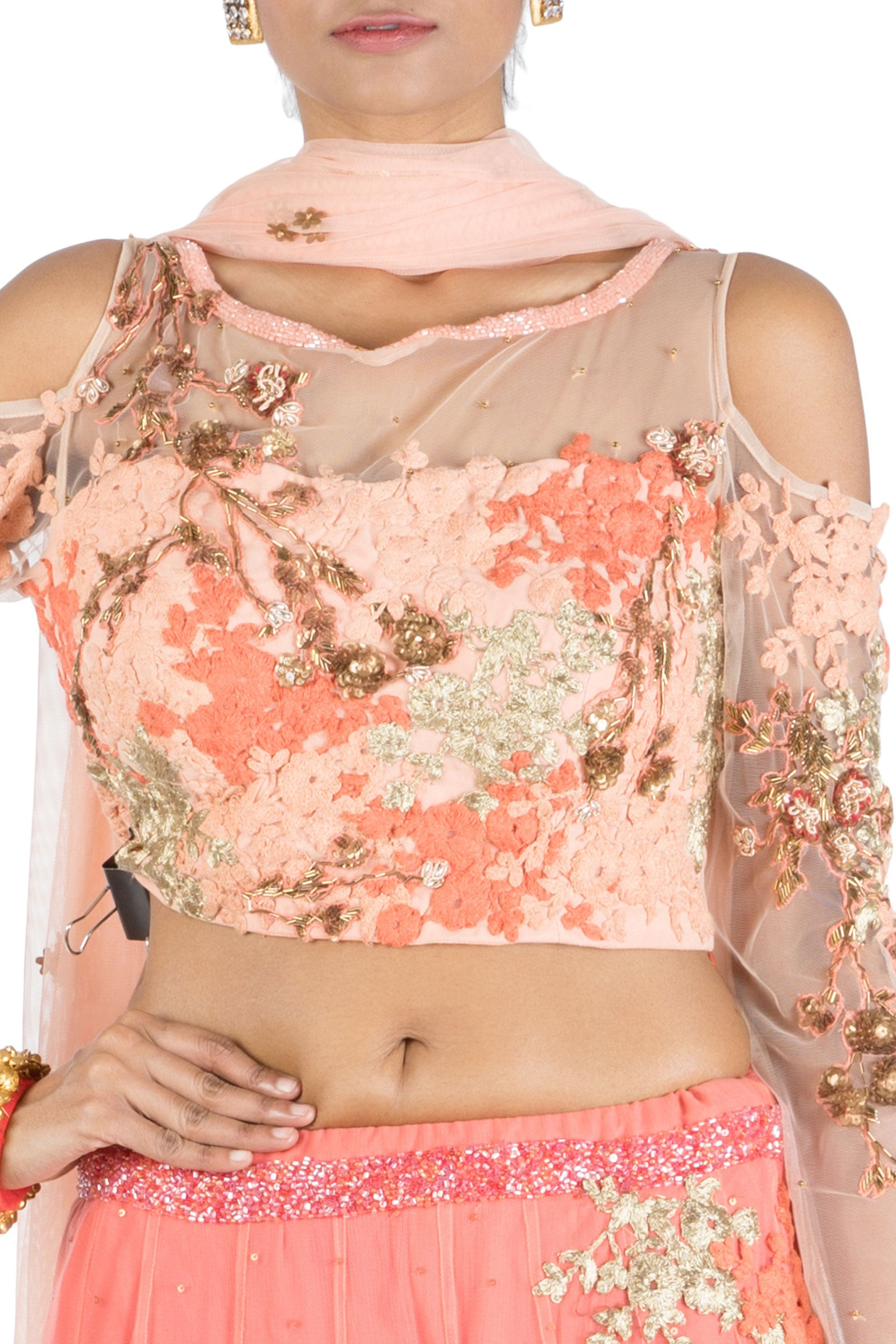 073d98e9c47382 ... Dark Peach Lehenga With Embroidered Cold Shoulder Blouse Closeup